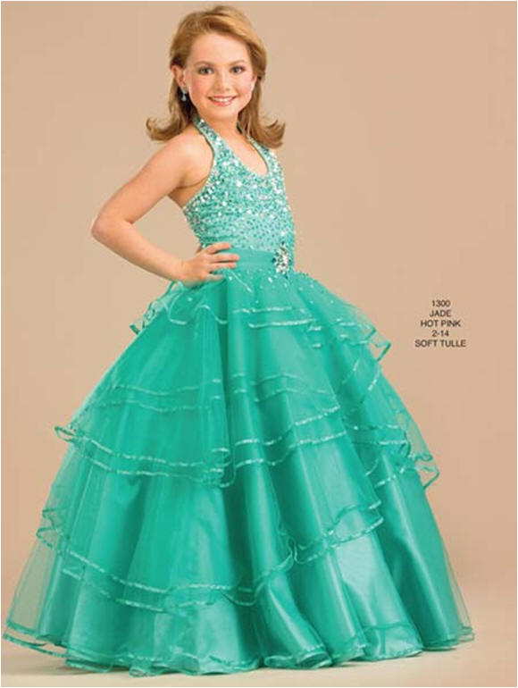 Child Beauty Pageant dresses - Green toddler pageant dresses.
