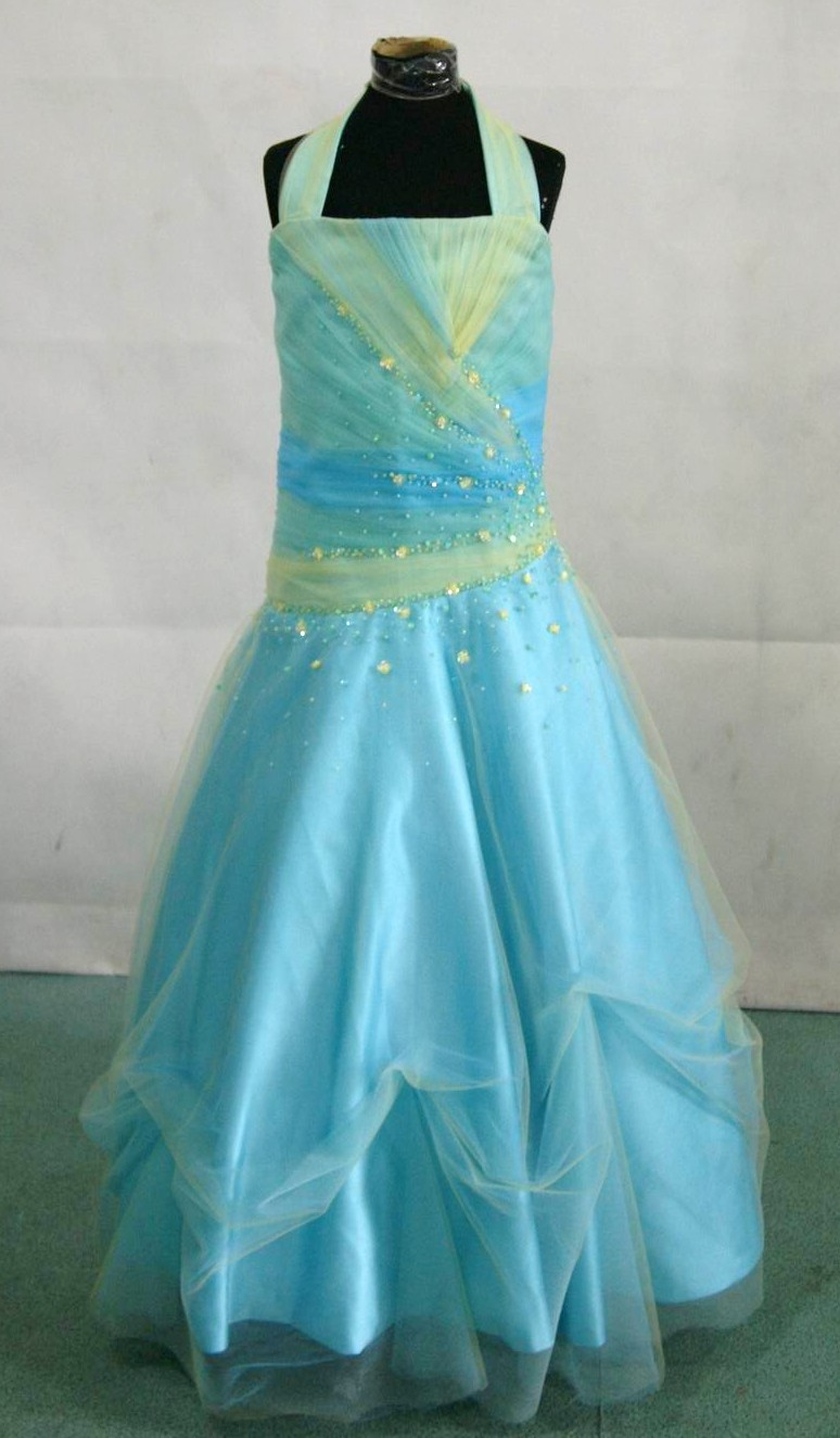 halter pageant dress in blue and green