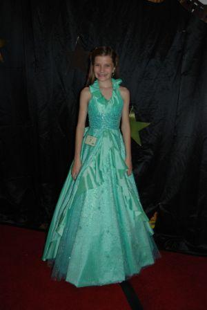 green and blue pageant dress