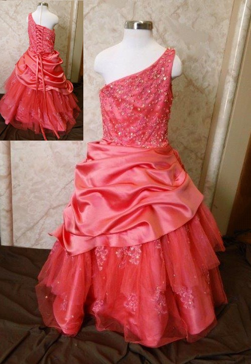 one shoulder pageant ball gowns for girls
