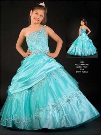 girls one shoulder beaded pageant dress