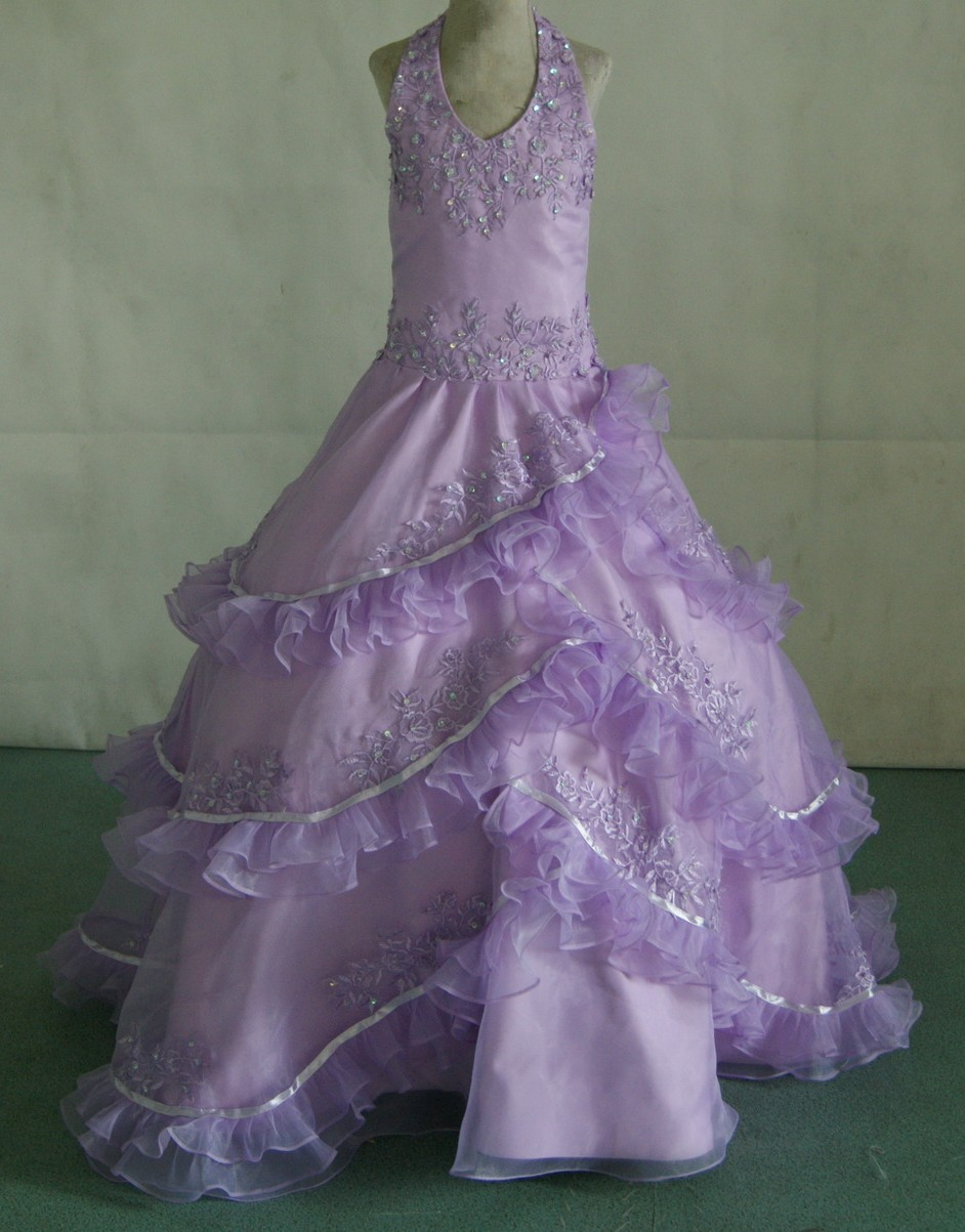 Lilac halter pageant dress with layered ruffles