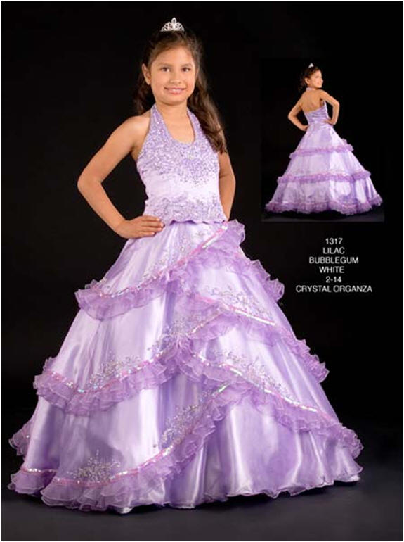 Purple sequin ball gown.