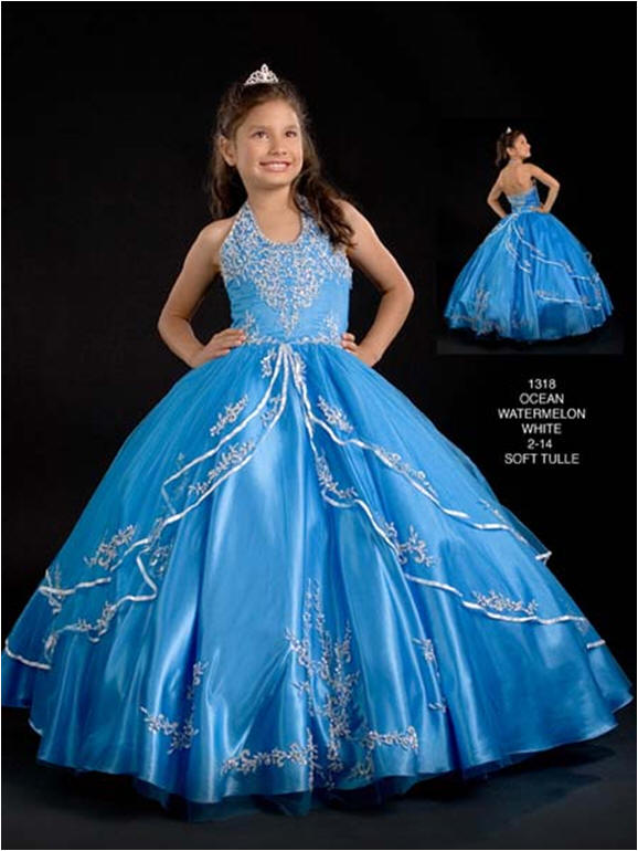 Child pageant ball gown - pink watermelon ball gown.