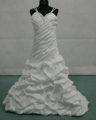 sweetheart drop-waist gown with a shirred bodice