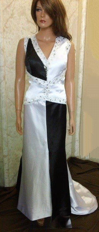 silk black and white wedding dresses
