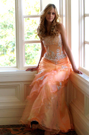 orange strapless sheer lined prom dresses