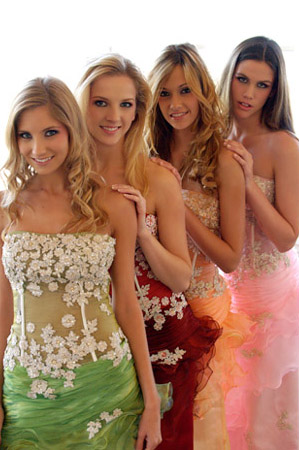 green, orange, pink, red dresses