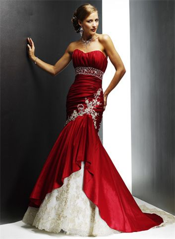 Red Ball Gowns - Strapless Ballroom Dresses - Prom Dresses.