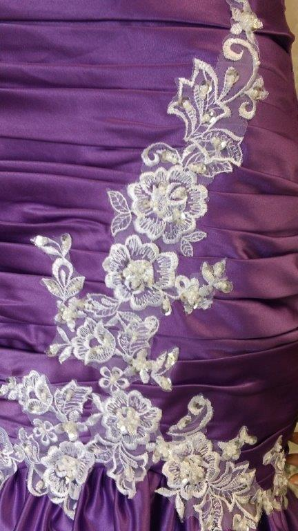 purple white wedding gown