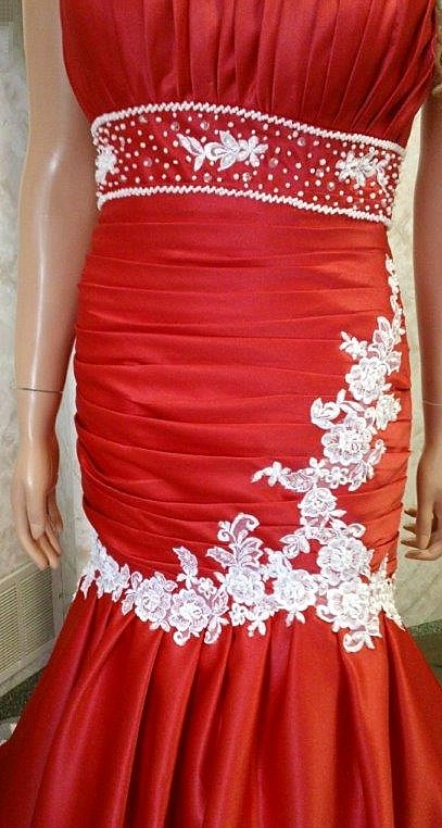 red ivory dress