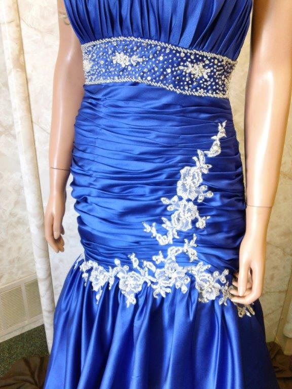 Bright Blue dress with silver beaded applique