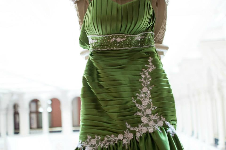 green wedding gown