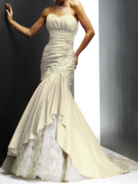 ivory mermaid sweetheart wedding gown