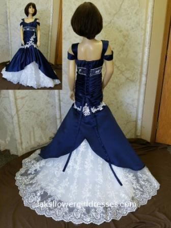 navy and white miniature wedding dress