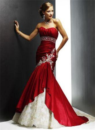 White and Red Long Prom Dresses