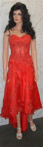 red see through corset gown with hi-low hemline