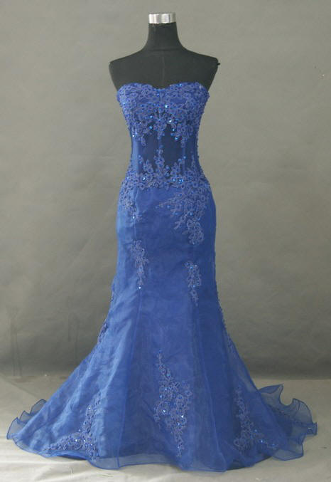 blue strapless corset prom dresses