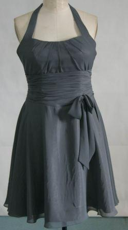 short charcoal chiffon mothers dress