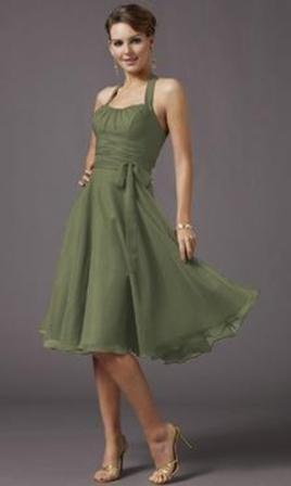 Chiffon Halter Style Short Bridesmaid Dress