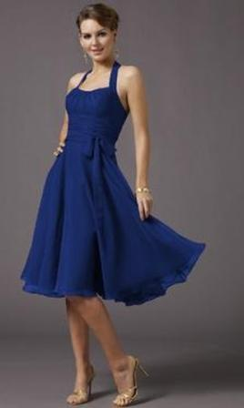 Halter cocktail dress blue