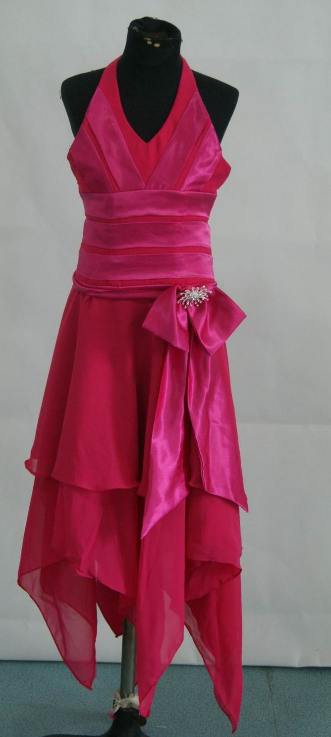 cerise halter dress with handjerchief hem