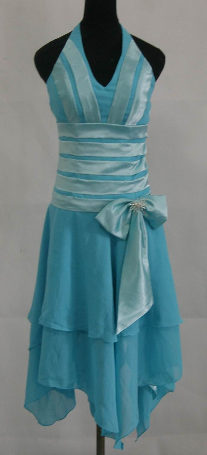 blue halter dress with handerchief hem