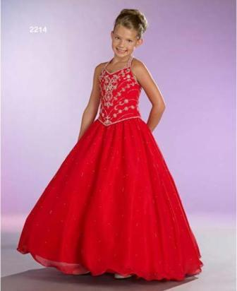 little girls red halter pageant dress