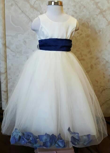 Clearance flower girl dresses with rose petals girl dress ivory and navy flower petal dresses mightylinksfo