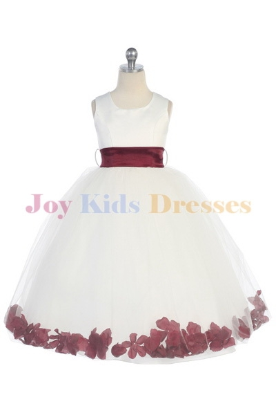 white and burgundy pink flower petal dress