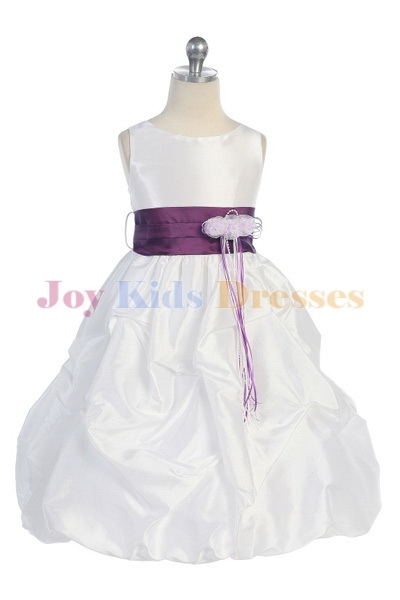 kids dresses with pick up skirt and purple sash