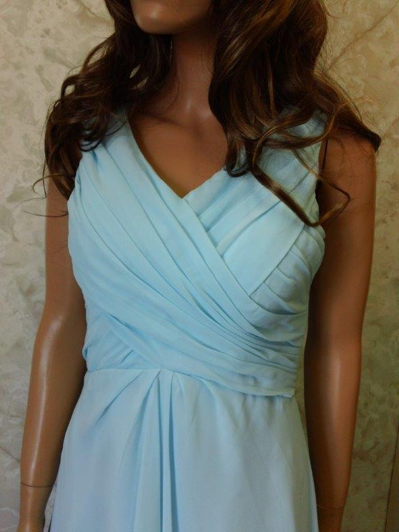Short ice blue chiffon wrapped bodice bridesmaid gown