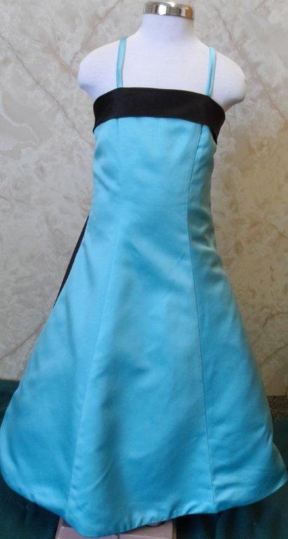 Turquoise and black flower girl dress for Blue and black wedding dresses