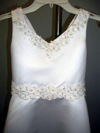 appliqued lace white dress