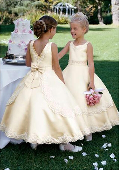 layered yellow flower girl dress