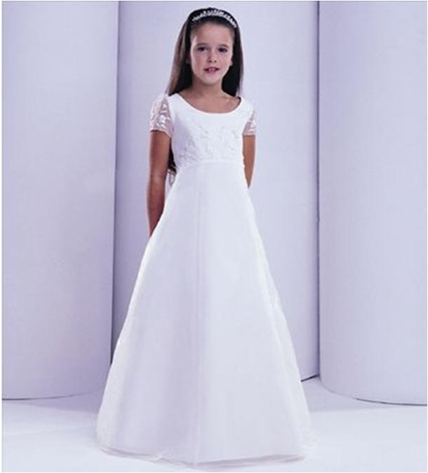 floor length a line flower girl dress