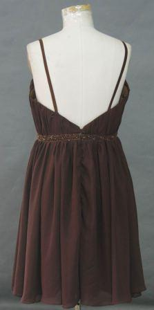 Short Chocolate Brown  chiffon dress