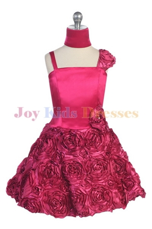 fuschia junior pageant dress with Rosette skirt