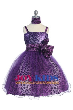 purple childrens animal print dresses