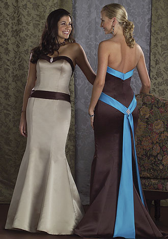 blue and brown bridesmaid dresses
