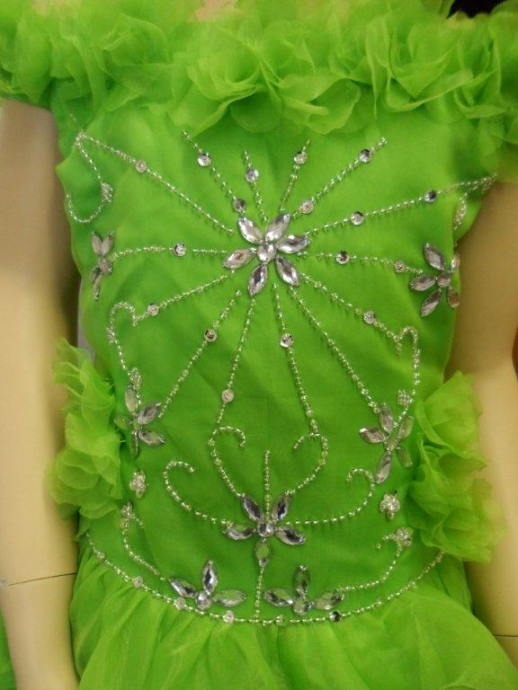 Lime green pageant dress with silver beaded embroidery