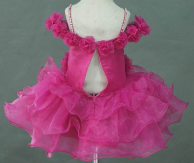 12 month fuschia baby pageant dress