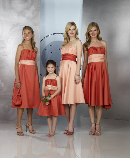 burnt orange and peach short bridesmaid dresses