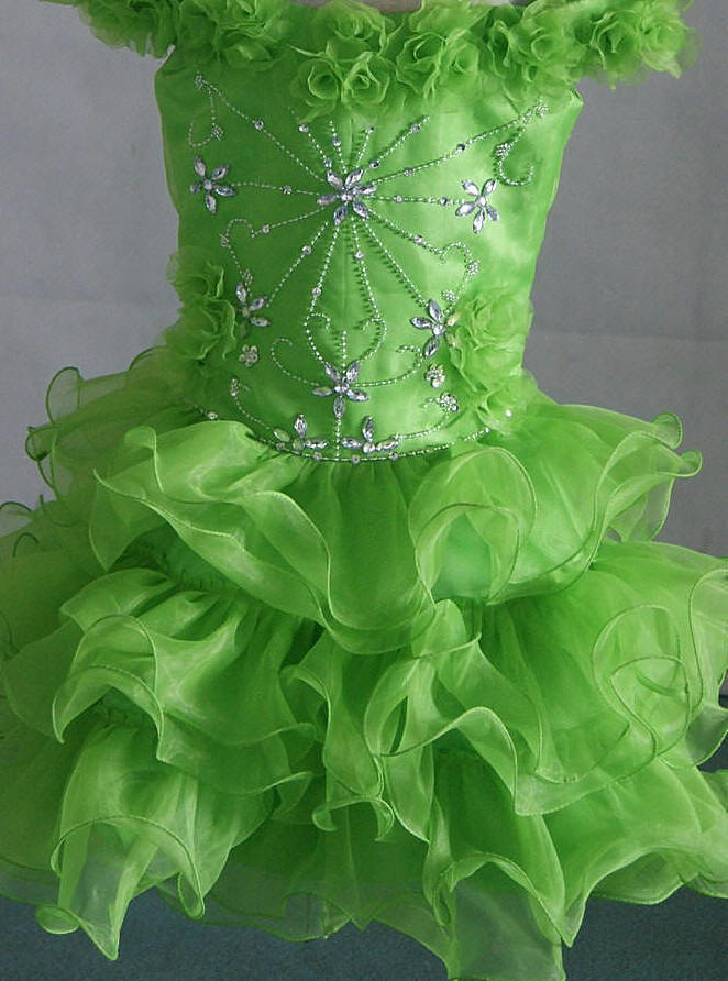 Lime green and silver pageant dress