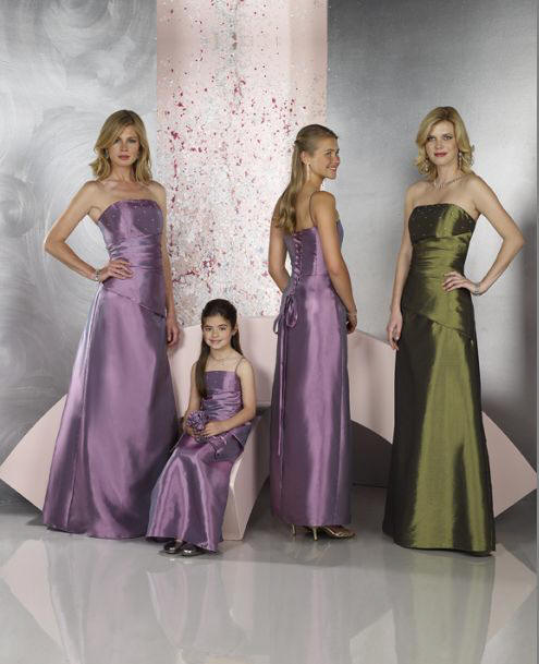 Long strapless purple and green bridesmaid dresses