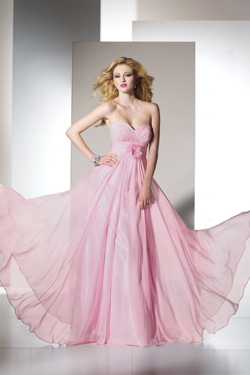 Pink long flowing chiffon dresses.