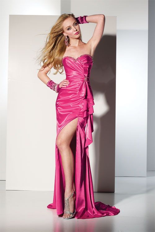 pink strapless prom dress with slit skirt