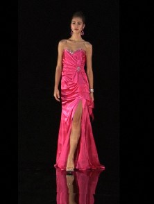 Pink long prom dresses with a slit