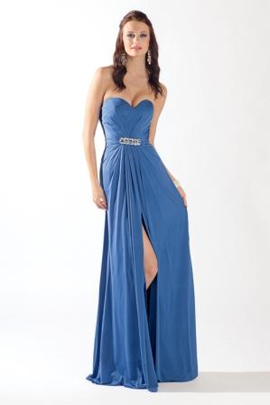 blue sweetheart strapless dress