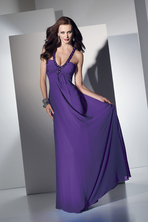 purple sheath prom dress